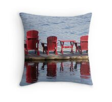 Red Muskoka Chairs - Lake Muskoka Throw Pillow