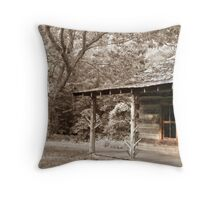 Old School House Sepia Throw Pillow
