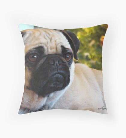 Maggie~ Pet Portrait Of A Pug Throw Pillow