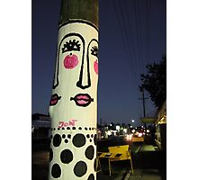 Face painted telephone pole Photographic Print