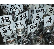 Cafe table numbers waiting for customers Photographic Print