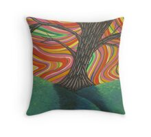 Psychedelic Tree Throw Pillow