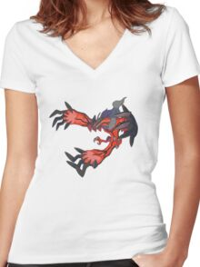 red dragon t shirt Women's Fitted V-Neck T-Shirt