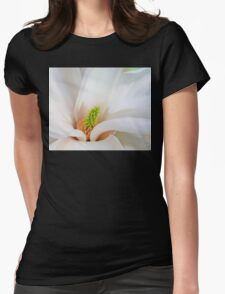 White Magnolia flower, floral art Womens Fitted T-Shirt