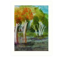 Summer trees, watercolor Art Print