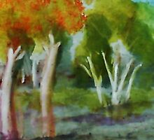 Summer trees, watercolor by Anna  Lewis