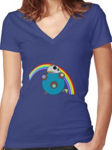 Royal Rainbow BB-8 Women's Fitted V-Neck T-Shirt