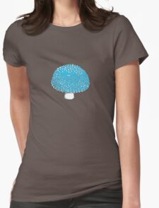 Blue Mushroom Shroom Fungus Womens Fitted T-Shirt