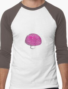 The Hot Pink Mushroom, Shroom, Fungus Men's Baseball ¾ T-Shirt