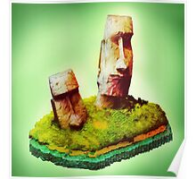 Monolithic Moai Easter Island Poster