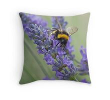 Bee on Lavender stem Throw Pillow