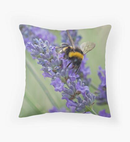 Bee on Lavender stem Throw Pillow