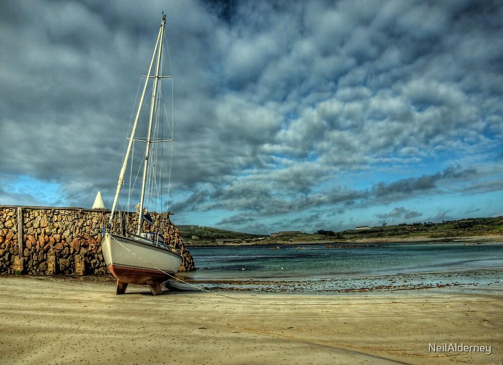 A Yacht on Braye Beach by NeilAlderney