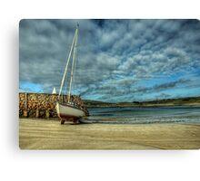 A Yacht on Braye Beach Canvas Print