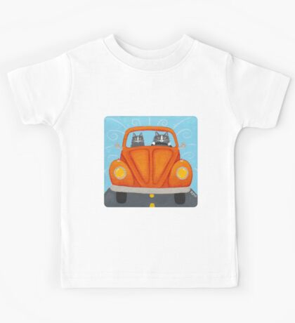 Orange Road Trip Cats Kids Tee
