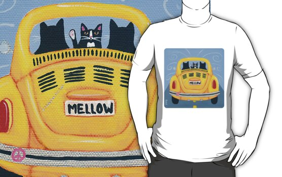 Yellow Road Trip Cats by Ryan Conners