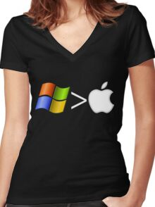 PC greater than Mac Women's Fitted V-Neck T-Shirt