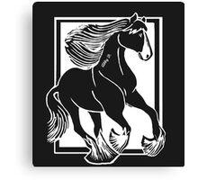 Black and White Shire Horse Art Canvas Print