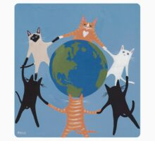 Earth Day Cats One Piece - Long Sleeve