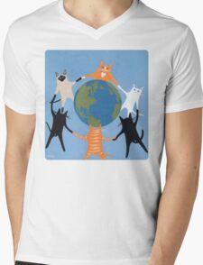 Earth Day Cats Mens V-Neck T-Shirt