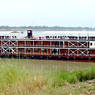 RV Pandaw moored on the Mekong River. by John Mitchell