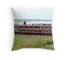 RV Pandaw moored on the Mekong River. Throw Pillow