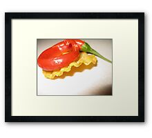Red Chili on a Crinkle Cut Chip Framed Print