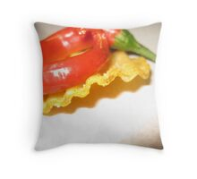 Red Chili on a Crinkle Cut Chip Throw Pillow