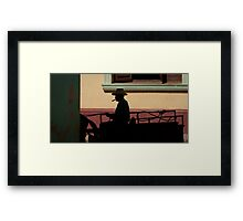 Horse and cart driver in silhouete Framed Print