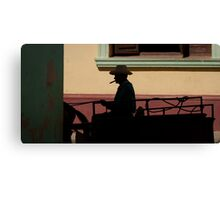 Horse and cart driver in silhouete Canvas Print