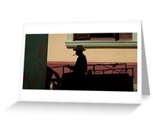 Horse and cart driver in silhouete Greeting Card