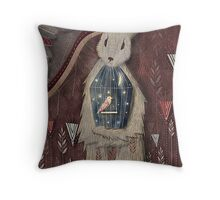 chaising rabbit Throw Pillow