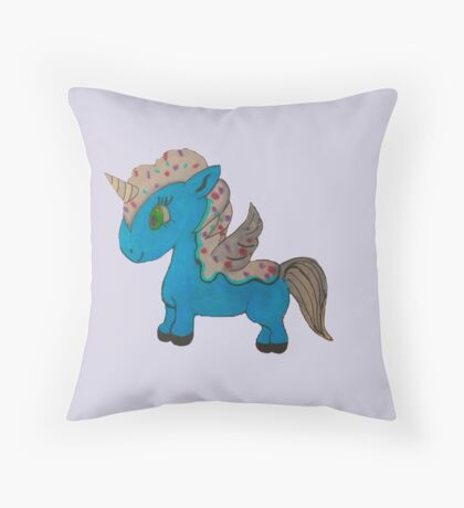 Sprinkles the Ice Cream Unicorn Throw Pillow