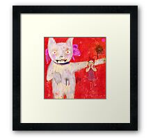 cat and kid Framed Print
