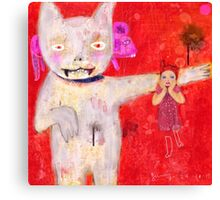 cat and kid Canvas Print