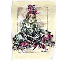 Girl Sitting or Chica Sentada Poster
