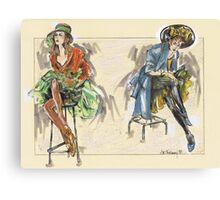 Girls on High Stools or Chicas Sentadas en Taburetes Altos Canvas Print