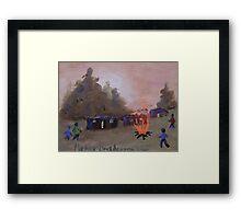Misty Orange Farm squatter camp Framed Print