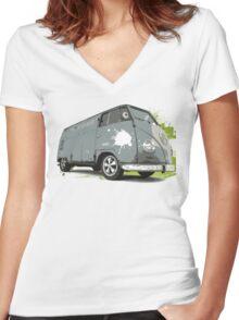VW Split screen - Green Paint Splash Women's Fitted V-Neck T-Shirt