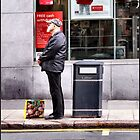 Man And Bag Outside Bank Being Watched By Lewis Hamleton by Jazzdenski