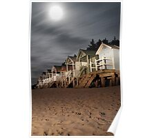 norfolk beach huts by torch light Poster