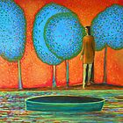 Girl at the river, blue trees, green boat, water, waves by IvonaTorovin