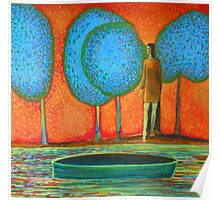 Girl at the river, blue trees, green boat, water, waves Poster