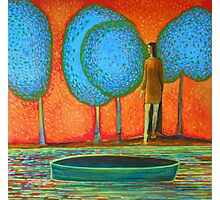 Girl at the river, blue trees, green boat, water, waves Photographic Print