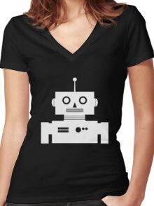 Retro Robot Shape Wht Women's Fitted V-Neck T-Shirt