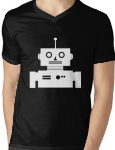 Retro Robot Shape Wht Mens V-Neck T-Shirt