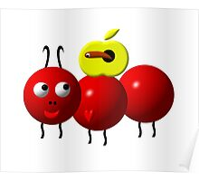 Cute ant with an apple Poster