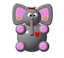 Cute elephant wearing earrings by Rose Santuci-Sofranko