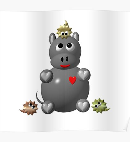 Cute hippo with Poster