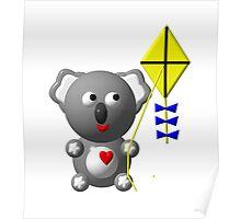 Cute koala with a kite Poster
